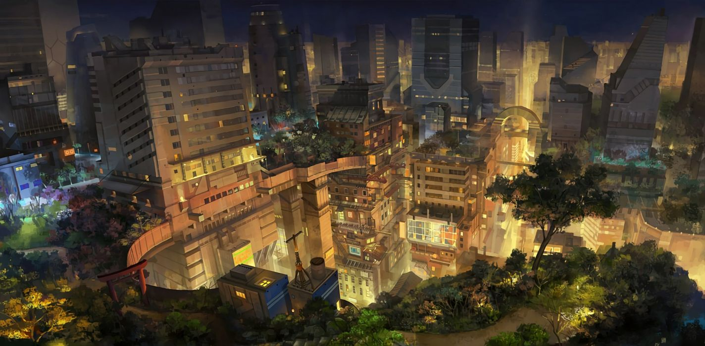 building city cropped molybdenumgp03 night nobody original photoshop scenic tree waifu2x wallpaper