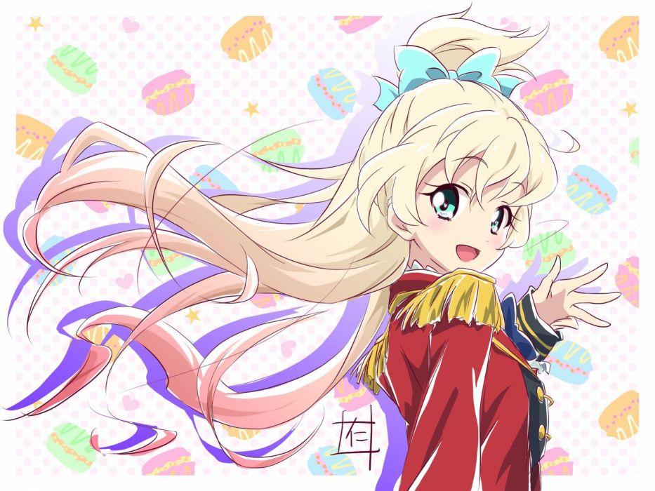 Aikatsu Stars! Shiratori Hime Aqua Bow Macaron Epaulettes wallpaper
