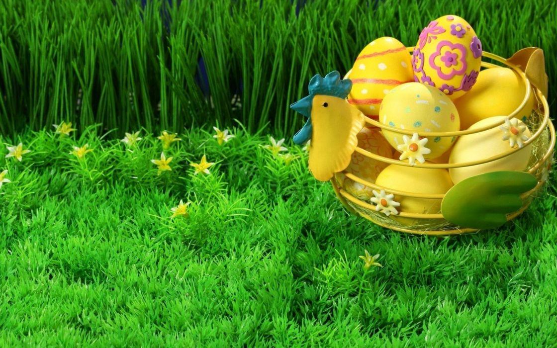 huevos pascua cesta hierba wallpaper