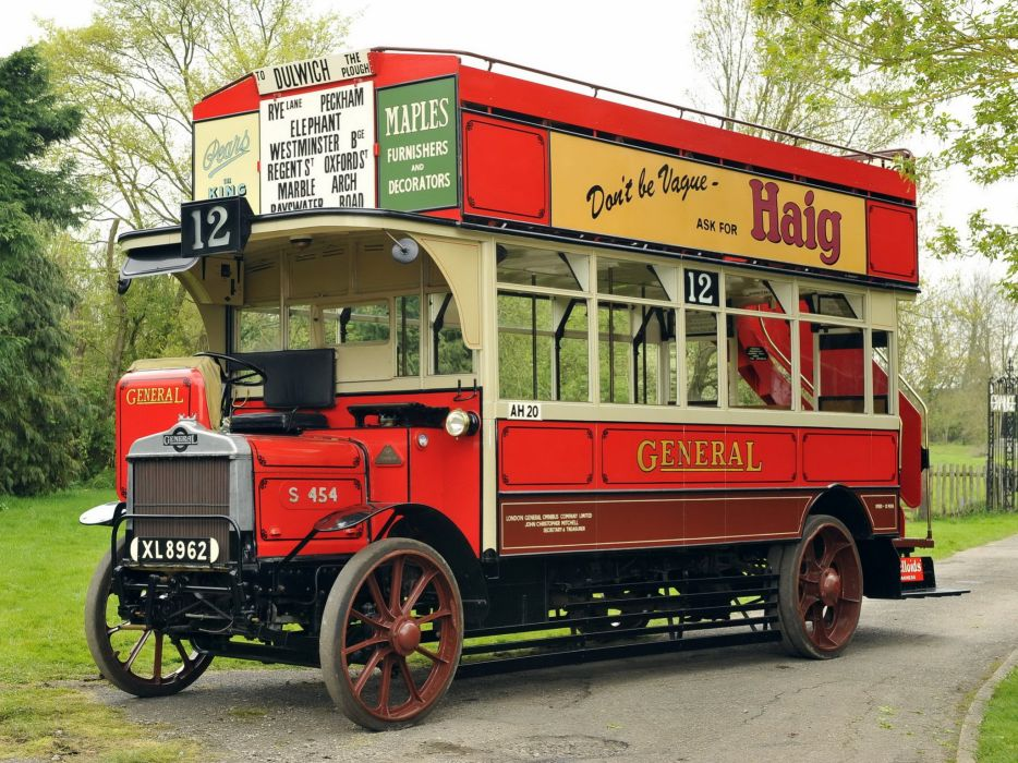 1922 AEC Type-S Double deck bus transport semi tractor retro vintage wallpaper