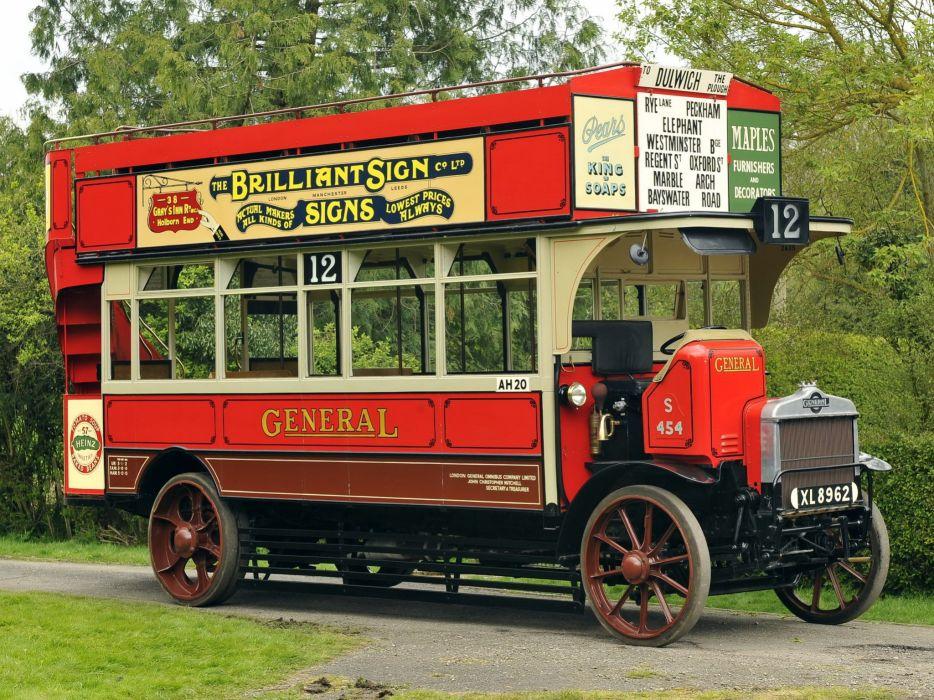 1922 AEC Type-S Double deck bus transport semi tractor retro vintage wallpaper