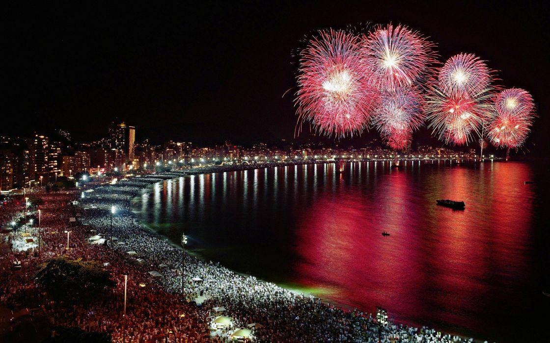 fiesta alborada ciudad gente playa wallpaper