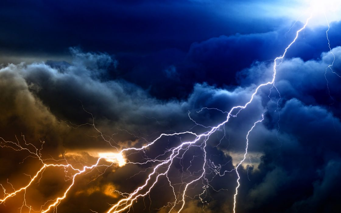Lightning Storm Rain Clouds Sky Nature Thunderstorm Wallpaper