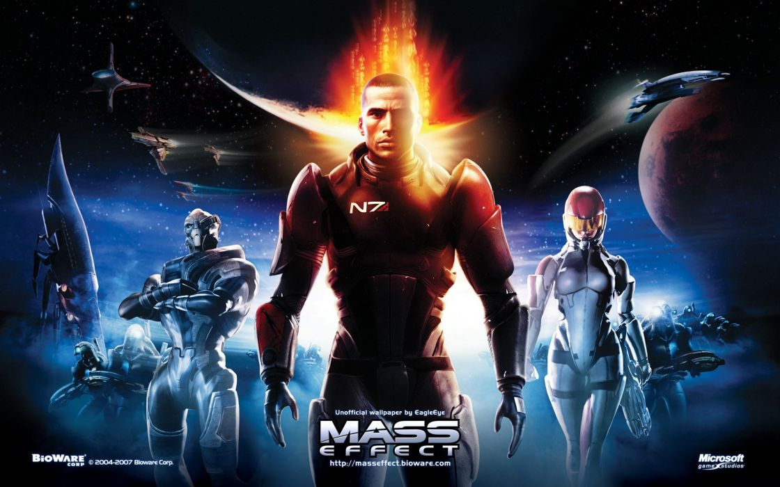 MASS EFFECT sci-fi futuristic shooter action fighting warrior poster wallpaper