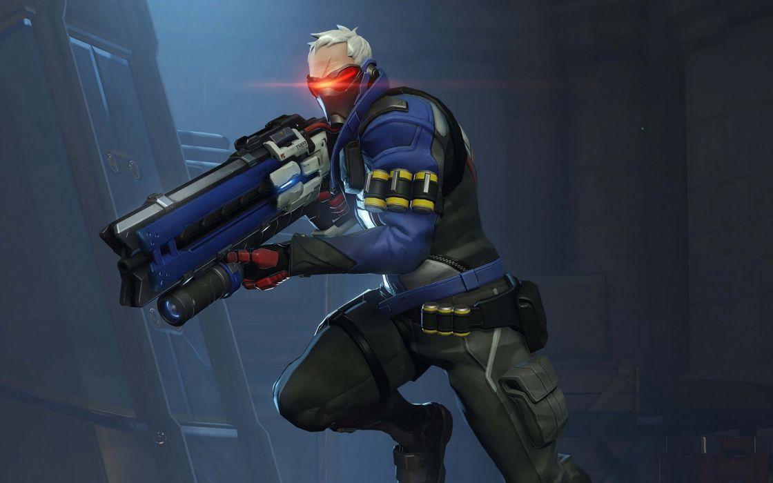OVERWATCH shooter action fighting mecha sci-fi futuristic warrior wallpaper