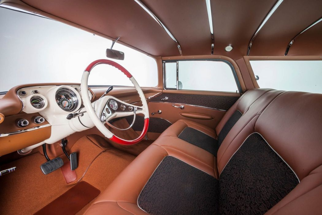 1957 Chevrolet Chevy Nomad Wagon Custom Kustom Streetrod Street Rod Rodder Low USA -05 wallpaper
