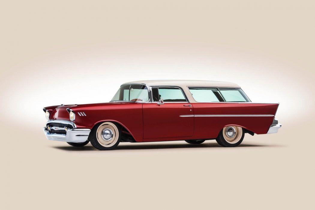 1957 Chevrolet Chevy Nomad Wagon Custom Kustom Streetrod Street Rod Rodder Low USA -09 wallpaper