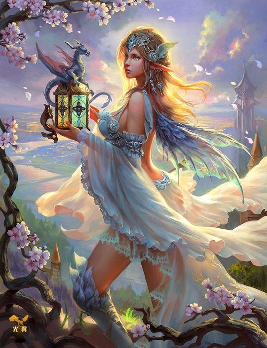 fantasy original girl woman character long hair beautiful dress wallpaper