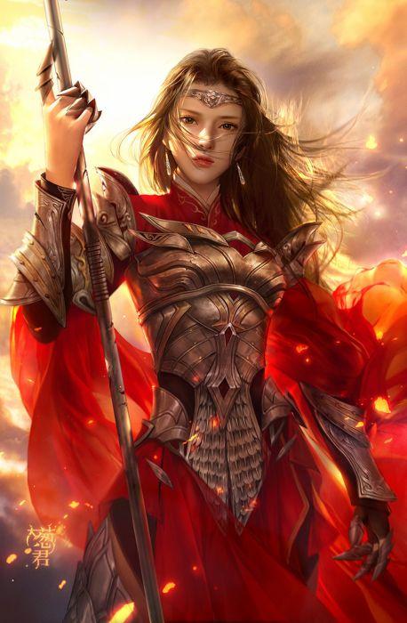 fantasy original girl woman character long hair beautiful red warrior wallpaper