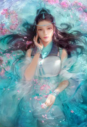 fantasy original girl woman character long hair beautiful water dress wallpaper