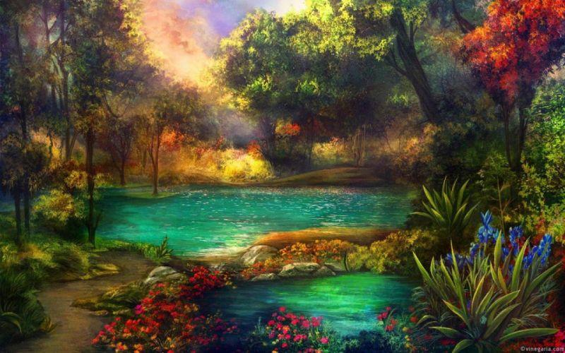art oil painting beauty landscape lake flower wallpaper