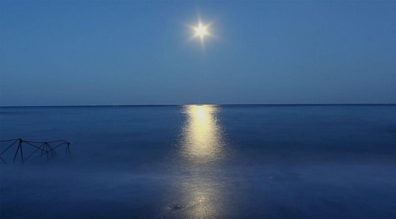 mar luna naturaleza reflejo wallpaper