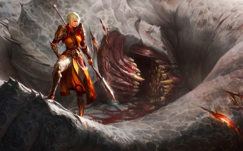 DIABLO dark fantasy warrior rpg action fighting dungeon wallpaper