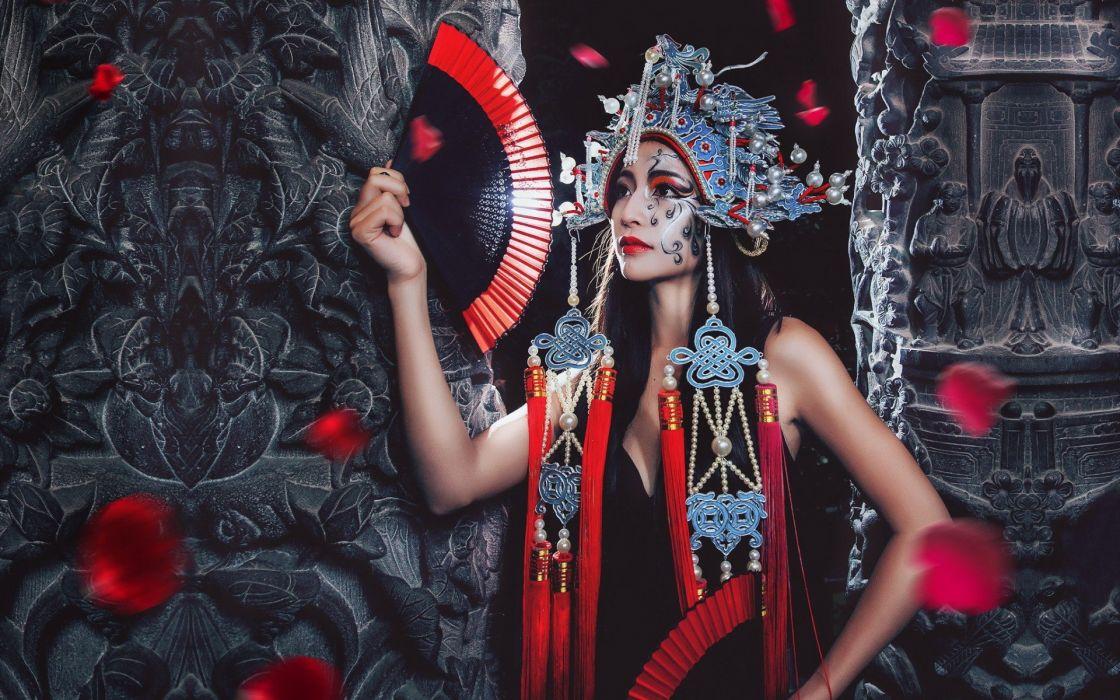 Chinese style girls women fan ornamentation wallpaper