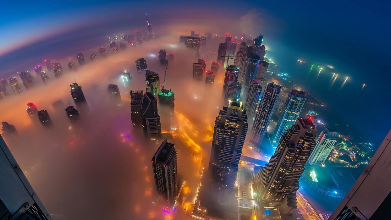 mist city beauty sea building light night wallpaper
