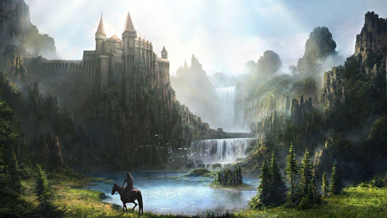 fantasy horse warrior mist tree waterfall river wallpaper