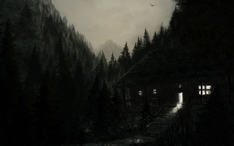 dark house forest rain birds sky painting wallpaper