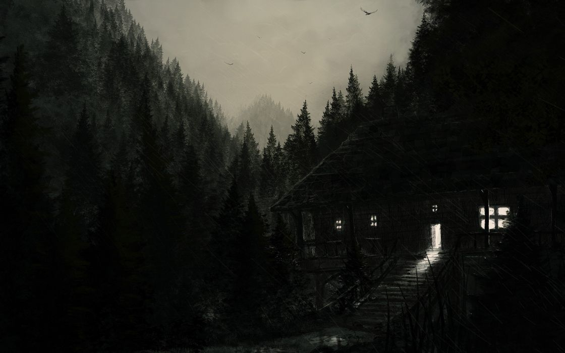 dark house forest rain birds sky painting wallpaper