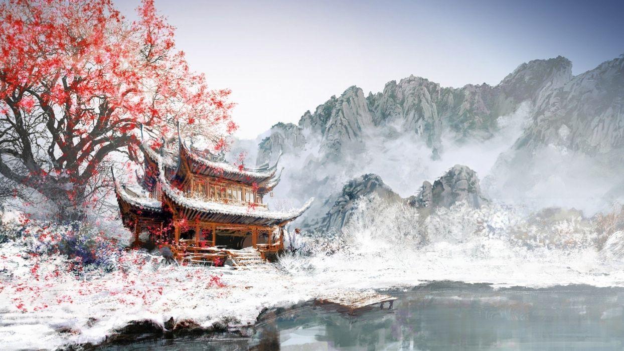 painting winter snow tree red mountain lake wallpaper