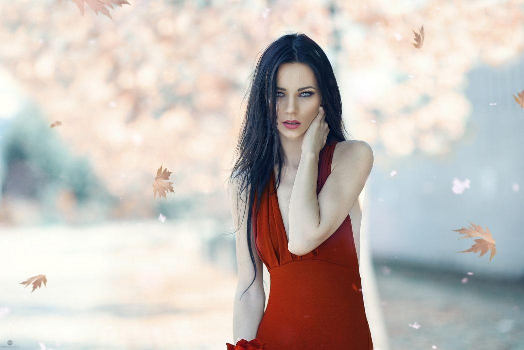 woman red dress long hair blue eyes girl beautiful wallpaper