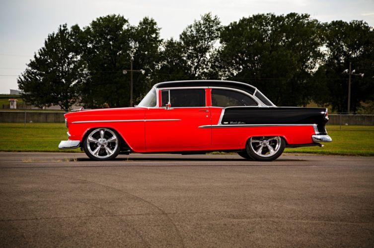 1955 Chevrolet Chevy Bel Air Belair Street Machine Super Street Cruiser USA -01 wallpaper