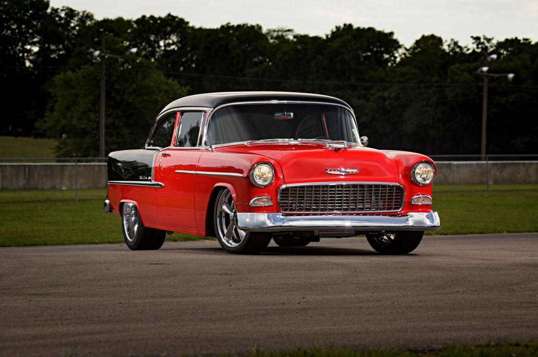 1955 Chevrolet Chevy Bel Air Belair Street Machine Super Street Cruiser USA -03 wallpaper