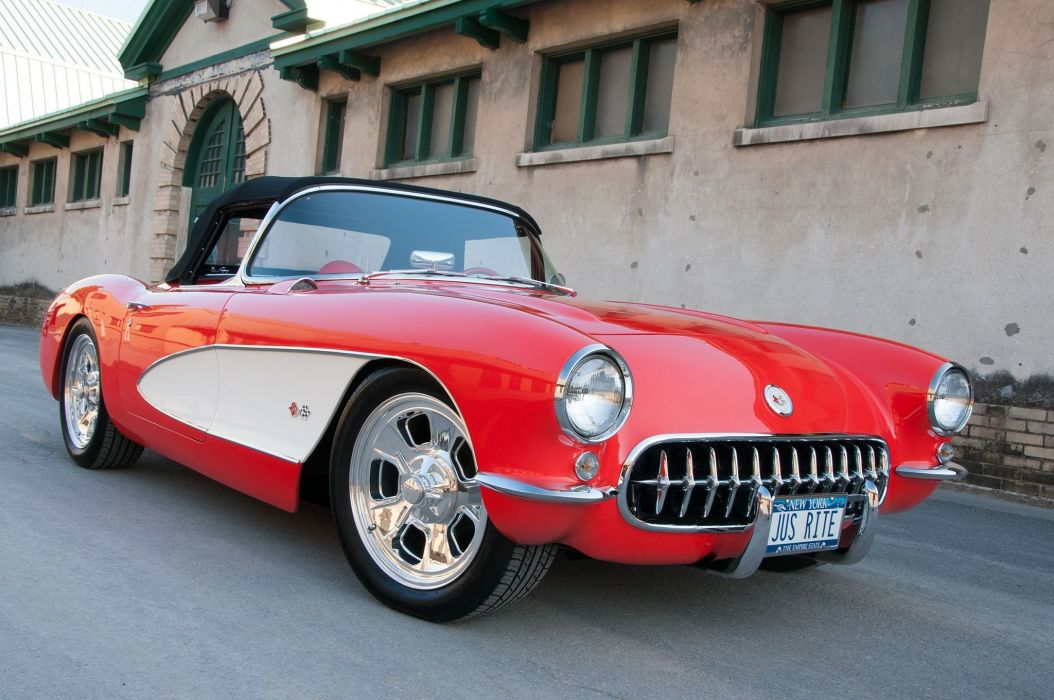 1957 Chevrolet Chevy Corvette Hot Rod Streetrod Street Rod USA -02 wallpaper