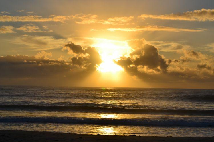 amanecer sol mar nubes naturaleza wallpaper