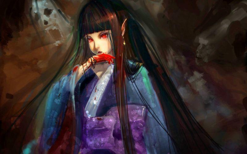 anime fantasy girl long hair blood kimono wallpaper