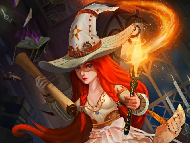sorceress witch anime girl dress red hair wallpaper