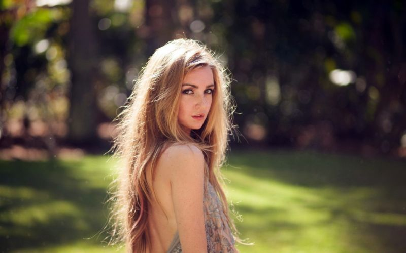 blonde female long hair girl beautiful summer wallpaper
