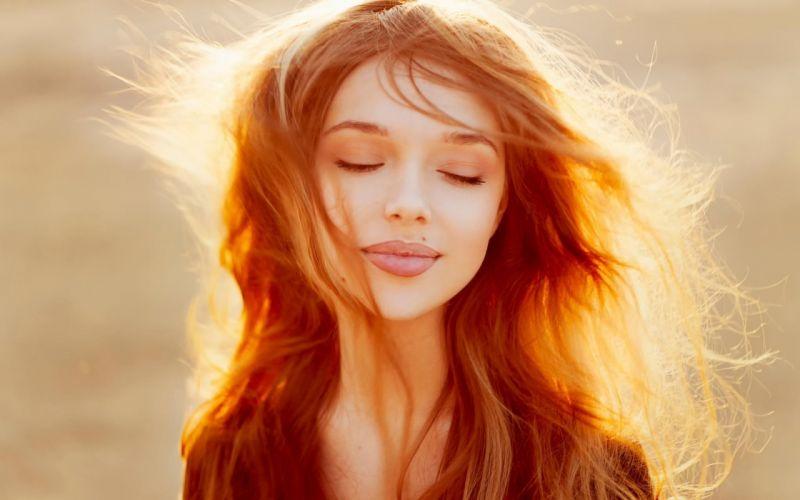 red hair girl female long hair beautiful smile wallpaper