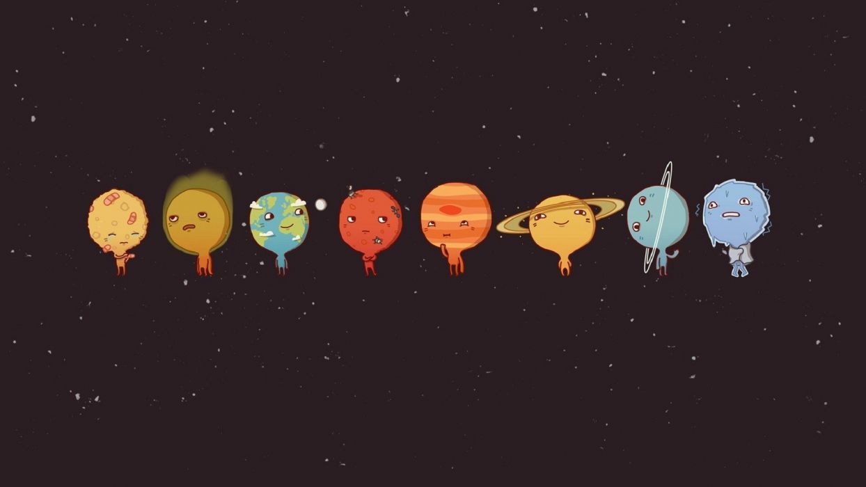 minimalism Solar System Moon Mars Earth Mercury Venus Pluto Sun space wallpaper