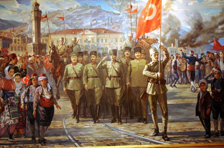 soldiers artwork Turkey army Ata Ataturk Turk Turkish flag Turks art oil painting table wallpaper