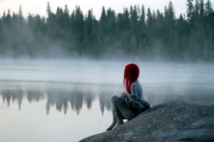 forest lake girl red hair alone wallpaper