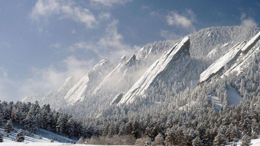 winter mountains forest nature landscape wallpaper