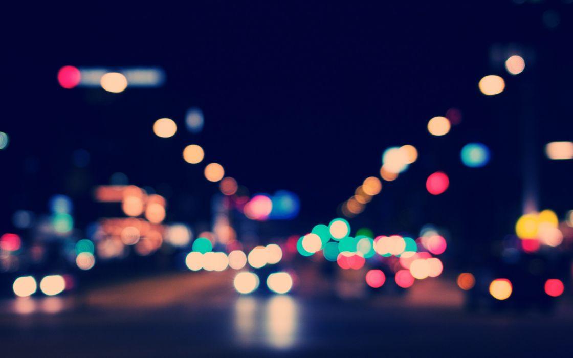 lights cars town bokeh cities street wallpaper
