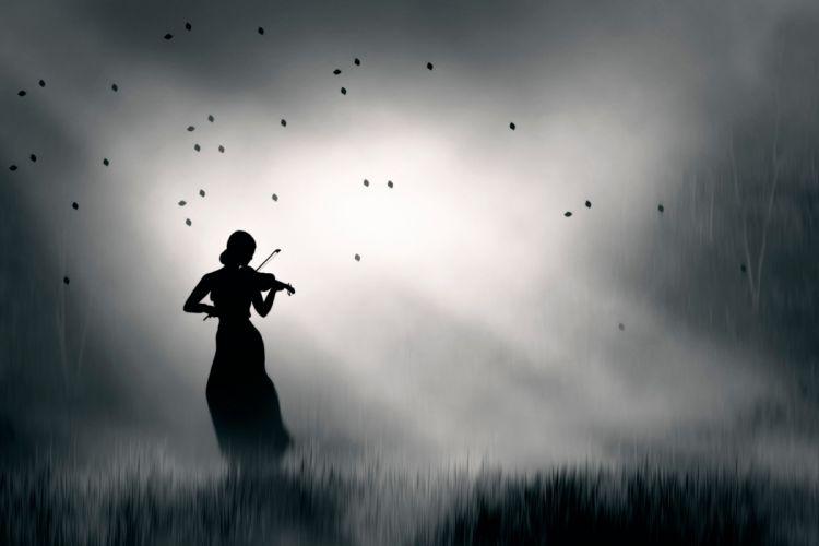 woman violin sky splendor music nature lady black and white wallpaper