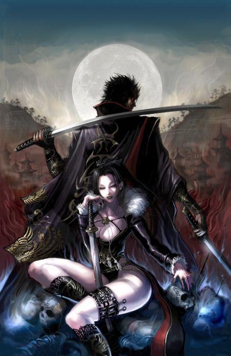 skulls fantasy katana weapons blade artwork swords wallpaper