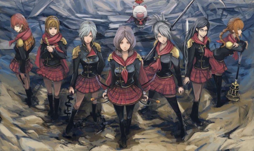 Final Fantasy uniforms skirts glasses weapons artwork anime girls swords wallpaper
