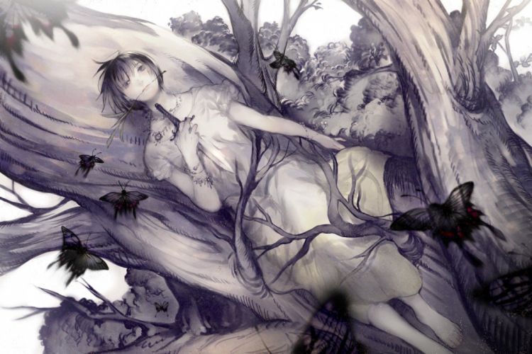 nature trees dress white original gray weapons short hair lying down monochrome necklaces knives jewelry bracelets butterflies gray eyes daggers white dress anime girls branches black hair wallpaper