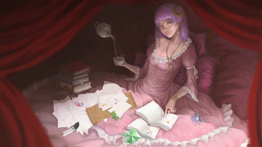 anime girls video games Touhou paper dress tea Moon beds cleavage cups wallpaper