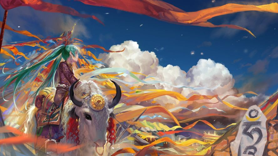anime girls clouds Vocaloid multicolor Hatsune Miku animals wind long hair ribbons flags green eyes wallpaper