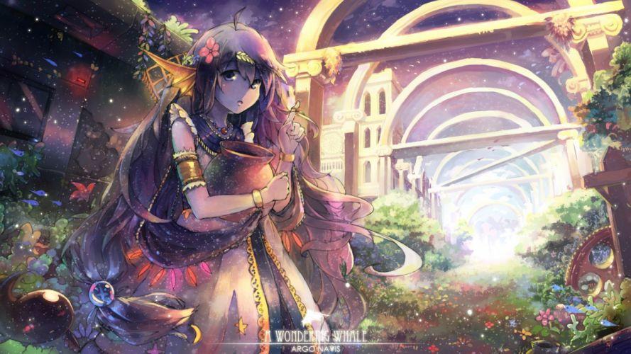 anime girls trees dress flowers text original grass long hair fantasy art wallpaper