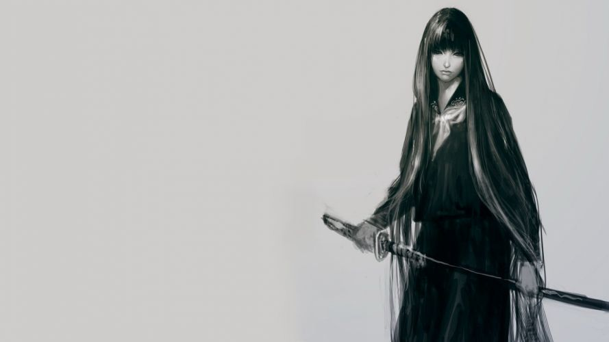 women katana gray school uniforms schoolgirls skirts japanese long hair weapons grayscale monochrome realistic wallpaper