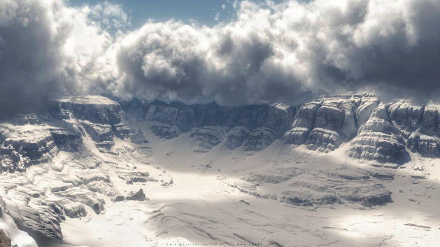 landscapes snow storm last realistic render 3D Vue wallpaper