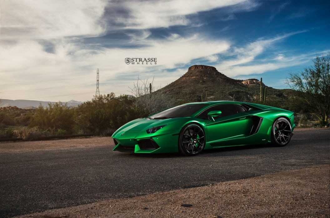 Strasse Wheels Green Lamborghini Aventador Cars wallpaper