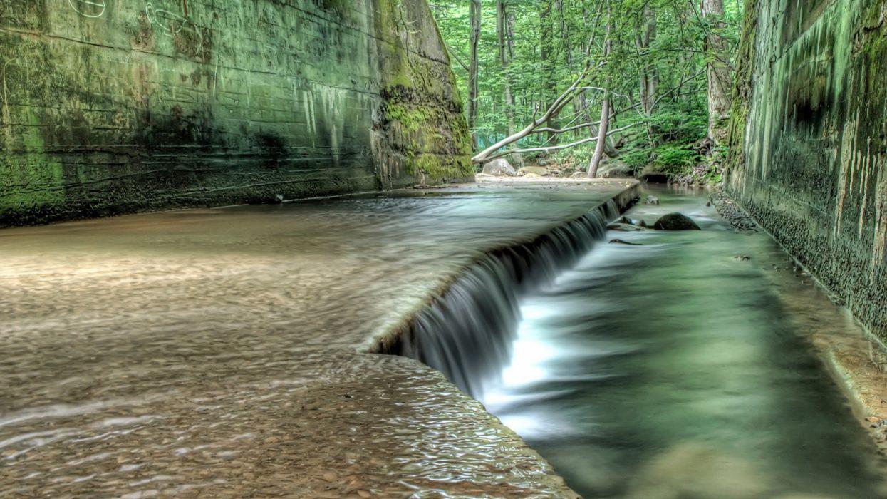 cascada bosque naturaleza wallpaper