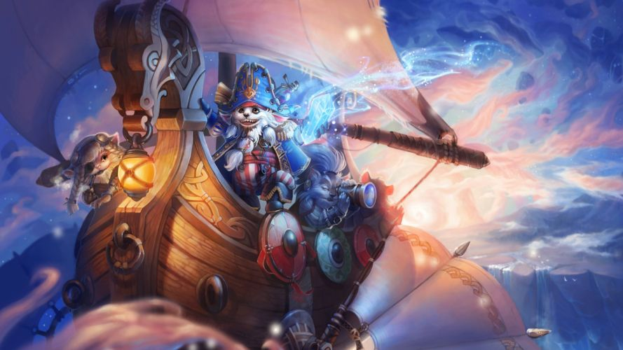 Sky voyagers ship cat fantasy kids wallpaper