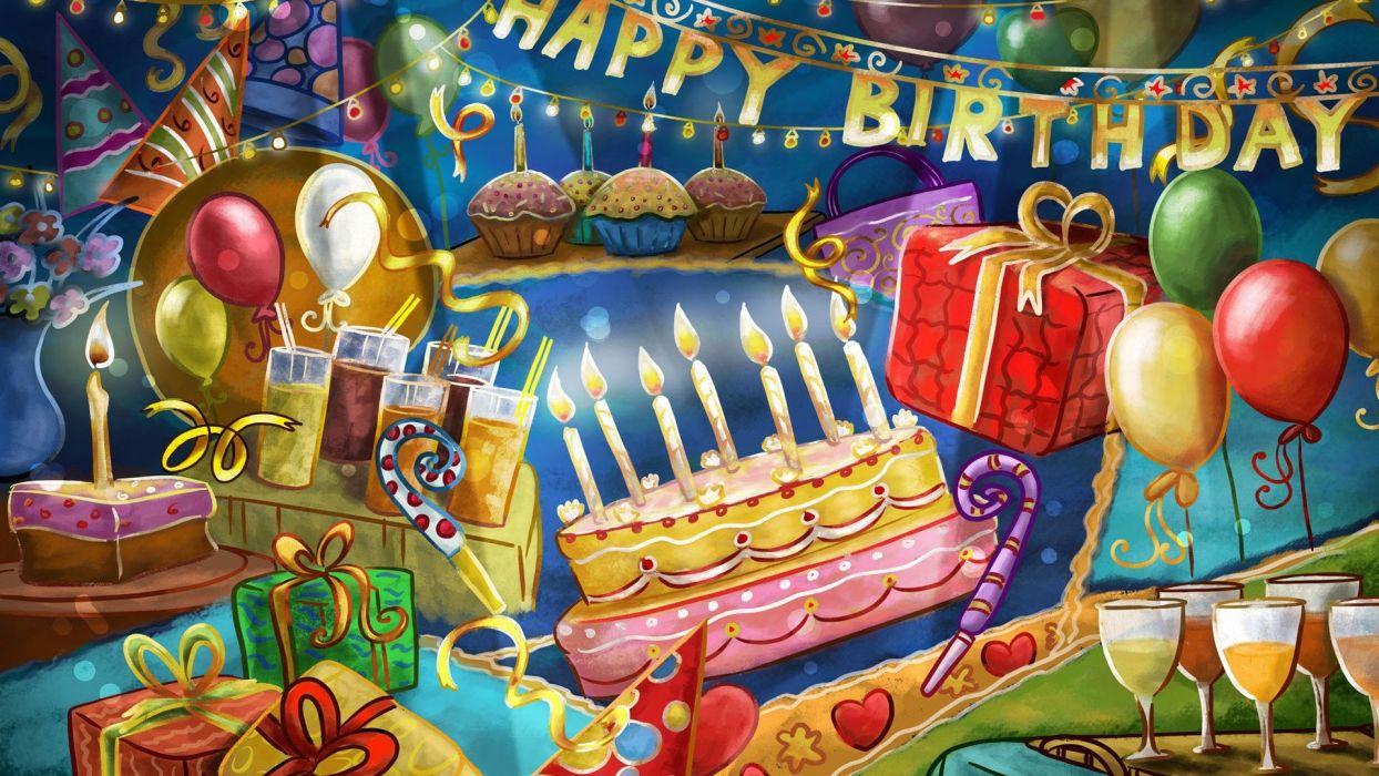 Happy Birthday Present Balloons Cake Cocktails Wallpaper